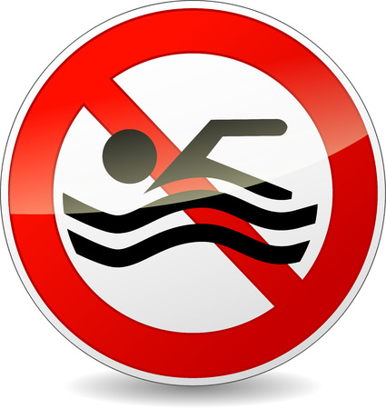 no swimming: Vector illustration of no swimming red and white sign Illustration