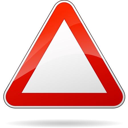 traffic signal: Ilustración vectorial de blanco señal de tráfico triángulo rojo Vectores