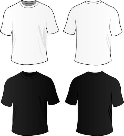 Ilustración vectorial de las camisetas en blanco en blanco y negro Ilustración de vector