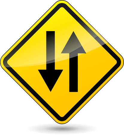 two way traffic: Vector illustration of two way yellow sign on white background Illustration
