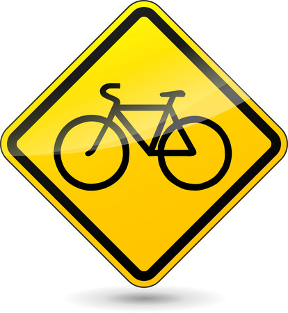 Vector illustration of bicycle yellow sign on white background Vector