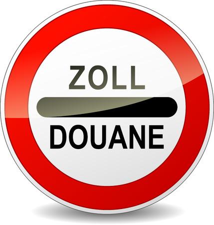 빨간색 기호 라운드 ZOLL 세관에 대한 프랑스어 번역 일러스트