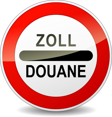 aduana: Traducci�n al franc�s para Zoll costumbres redondas cartel rojo