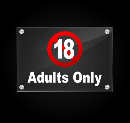 Vector illustration of transparent sign on black background for adults only area