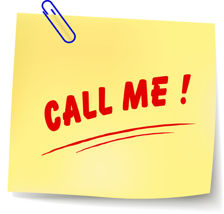 call me: Vector illustration of call me paper message on white background