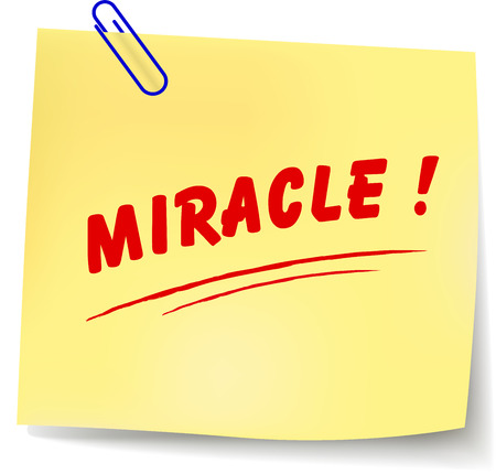 milagre: Ilustração do vetor da mensagem papel milagre no fundo branco