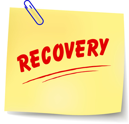 convalescence: Vector illustration of recovery paper message on white background