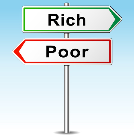 Vector illustration of rich and poor directions sign Vector
