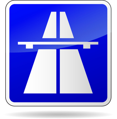 Vector illustration of freeway blue sign on white background