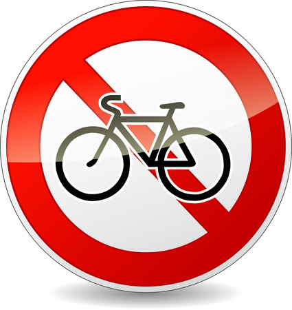 Vector illustration of round bicycle restriction sign on white background Vector