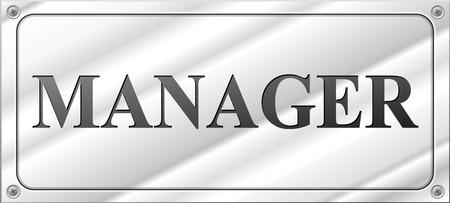Vector illustration of rectangular design manager chrome sign Vector