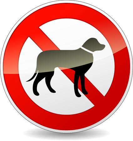 dog allowed: Vector illustration of round no dogs sign on white background Illustration
