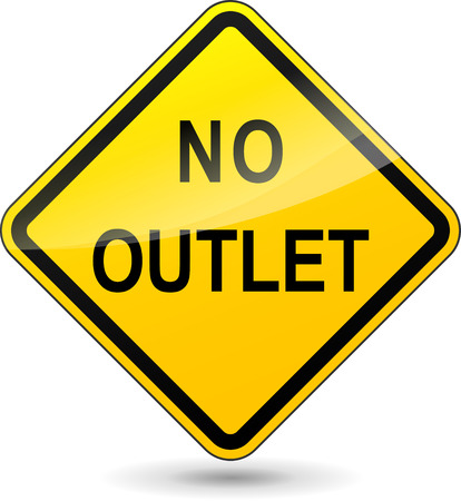 culdesac: Vector illustration of no outlet yellow sign on white background
