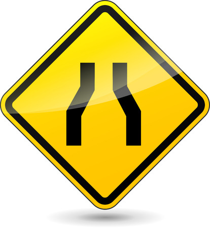 narrows: Vector illustration of narrowed road yellow sign on white background