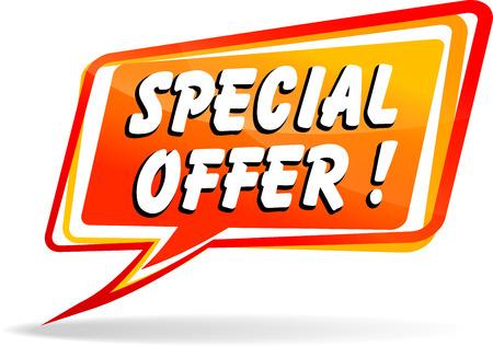 Vector illustration of orange speech bubble for special offer Vettoriali