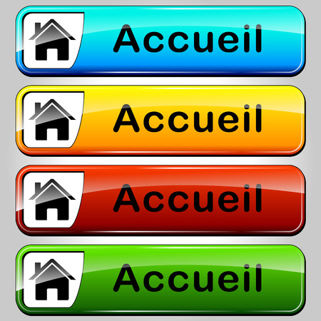 French translation for colorful home web buttons Vector