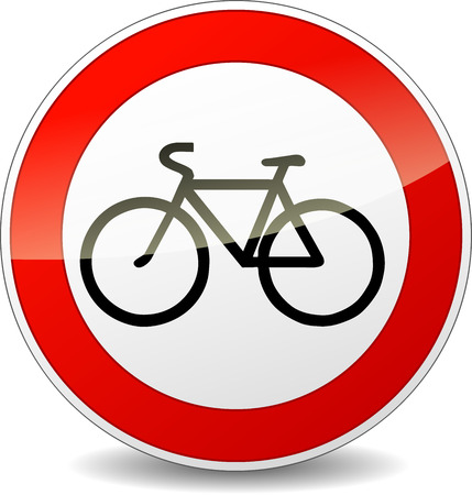 Illustration of bicycle round sign on white background Vector