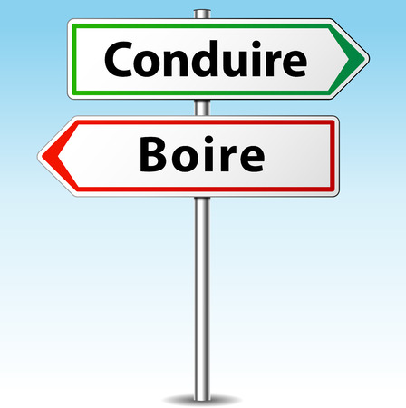 French translation for drunk driving sign Vector