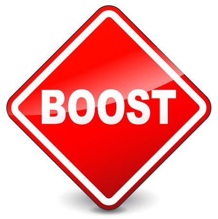 Illustration of red boost sign on white background