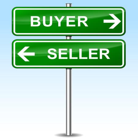 green sign: Illustrazione di acquirente e venditore segno verde