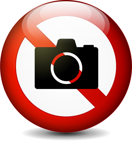no cameras allowed: Illustration of no camera round sign on white background