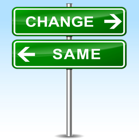 different ways: Illustration of change and same green sign