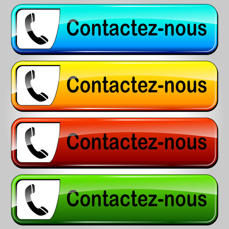 French translation for colorful contact us web buttons Vector