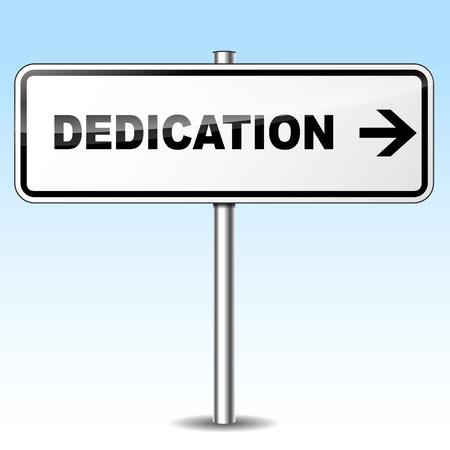 dedication: Illustration of dedication sign on sky background