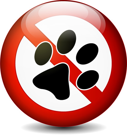 Illustration of no pets round sign on white background Vector