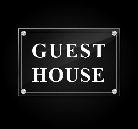 guest house: Illustration of guest house sign on black background