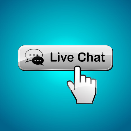 chat: Illustration of live chat button on blue background Illustration