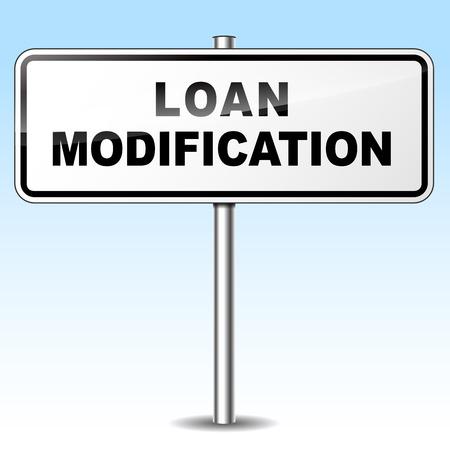 modification: Illustration of loan modification sign on sky background