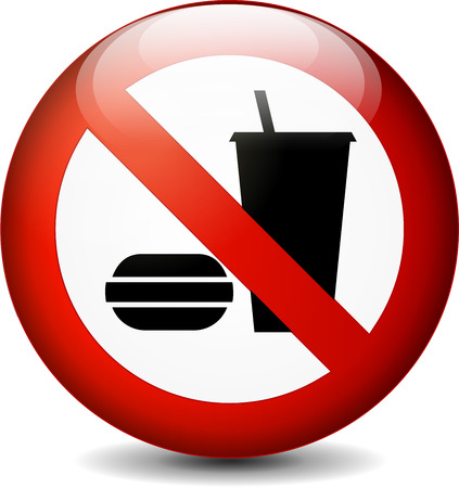 Illustration of no eating and drinking round sign on white background