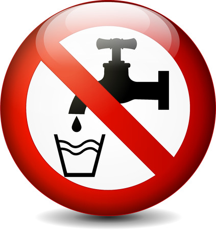 Illustration of no drink water round sign on white background Vector