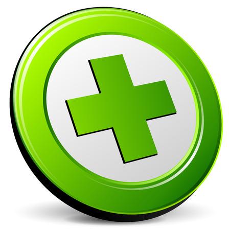 Illustration of green cross icon on white background Illustration