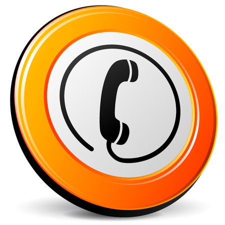 Illustration of orange phone icon on white background Vector