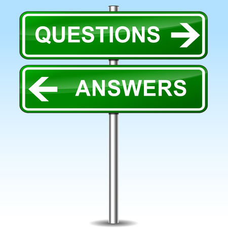 Illustration of questions and answers green sign Vector