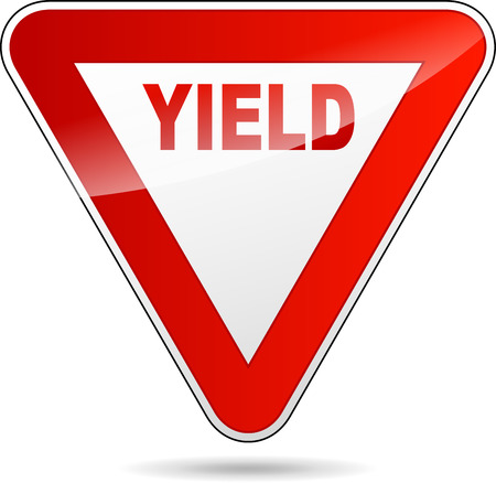 yield sign: Illustration of yield sign on white background
