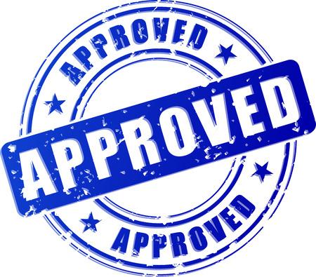 흰색 배경에 승인 된 파란색 스탬프의 그림 일러스트