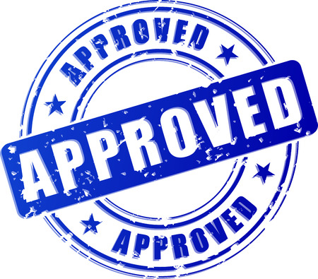 Illustration of approved blue stamp on white background Vettoriali