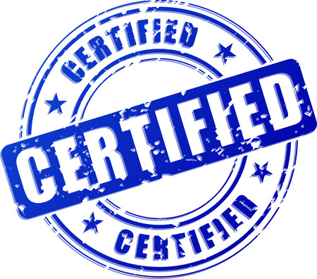 Illustration of certified blue stamp on white background