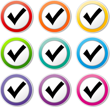 Illustration of check mark icons various colors set Vector