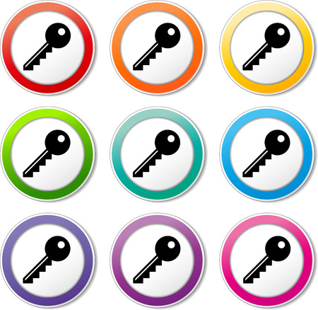 Illustration of key icons various colors set Vector