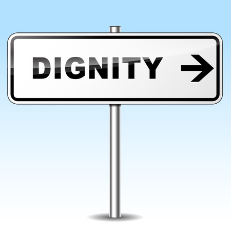 dignity: Illustration of dignity sign on sky background