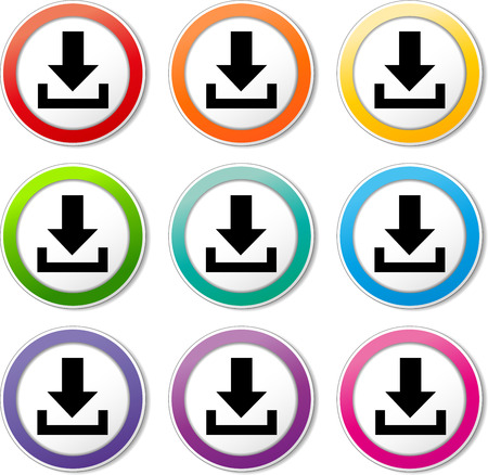 Illustration of download icons various colors set Vector