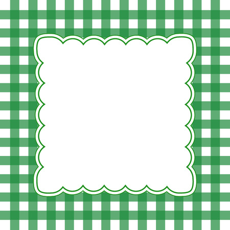 Illustration of green and white gingham frame concept