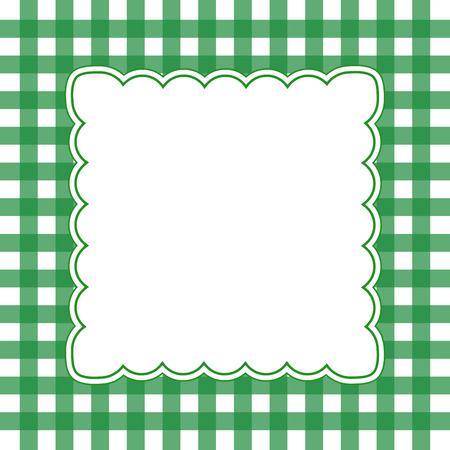 Illustration of green and white gingham frame concept