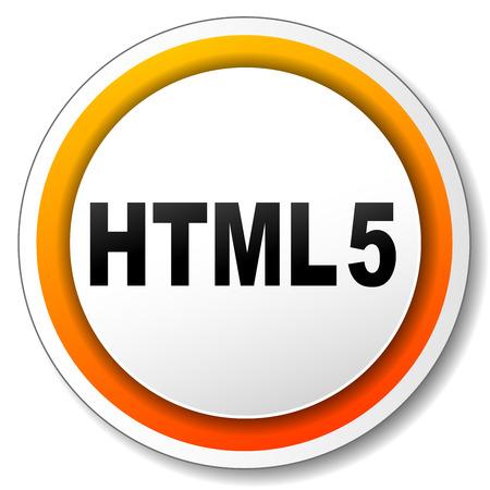 html5: illustration of html5 orange icon on white background Illustration