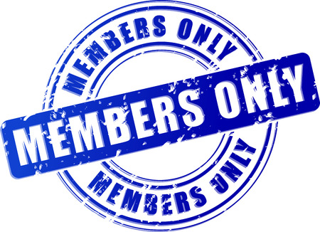 Illustration of members only blue stamp on white background Vector