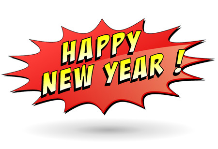 Illustration of happy new year red star Vector